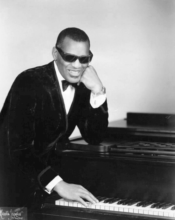 Classic piano pose by Ray Charles, William Morris Agency (November 10, 1969)