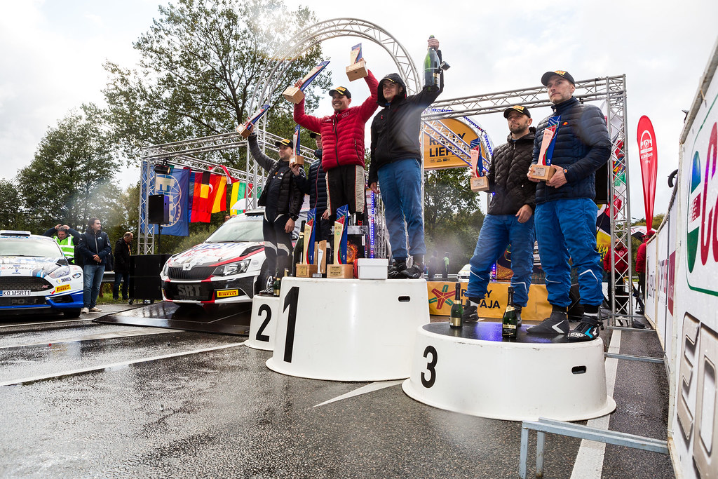 Gryazin Nikolay and Fedorov Yaroslav, Sports Racing Technologies, Skoda Fabia R5 ERC Junior U28 with Habaj Lukasz and Dymurski Daniel, Rallytechnology, Ford Fiesta R5 with Rovanpera Kalle and Halttunen Jonne, Ford Fiesta R5 podium ambiance during the 2017 European Rally Championship ERC Liepaja rally,  from october 6 to 8, at Liepaja, Lettonie - Photo Thomas Fenetre / DPPI