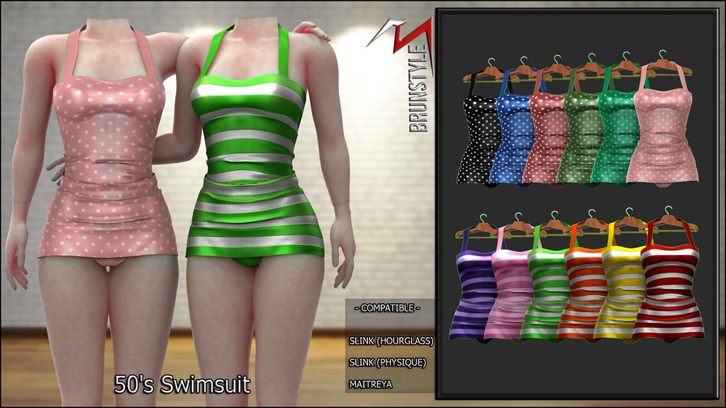 [BrunStyle] 50's Swimsuit (Fitted Mesh) - TeleportHub.com Live!