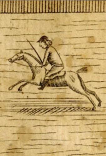 Revere horse engraving closeup