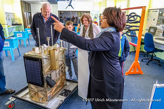 In the Science Centre of the South African Space Agency (SANSA) the guide shows us a replica of a satellite they use for their observations, Hermanus, South Africa