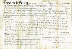 Acknowledgement of Deeds by Commissioners of the Common Pleas Ellen wife of George Bowles & Susannah wife of Robert Deeks Algar, Suffolk. 1862. p1