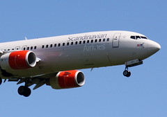 SAS LN-RRG Boeing 737-85P flight SK9049 arriving at Durham Tees Valley Airport MME England fron Oslo OSL Norway