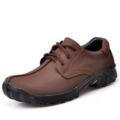 Men Outdoor Casual Flat Lace Up Leather Mountaineering Soft Comfortable Shoes (1073186) #Banggood