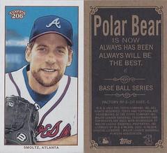 2002 Topps 206 Mini Baseball Card / Series 1 / Polar Bear - JOHN SMOLTZ #6 (Pitcher) (Baseball Hall of Fame 2015) (Atlanta Braves)