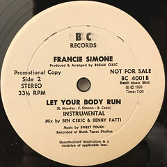 FRANCIE SIMONE:LET YOUR BODY RUN(LABEL SIDE-B)
