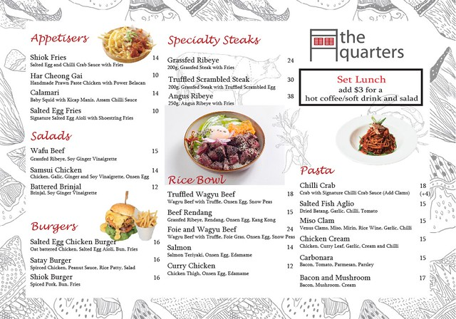 The Quarters 2017 Lunch Menu