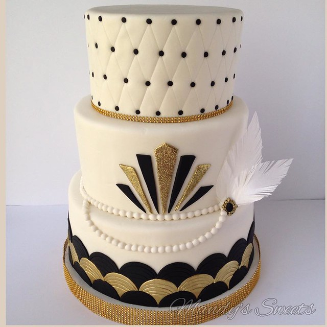 Great Gatsby Inspired Wedding Cake by Mandys Sweets