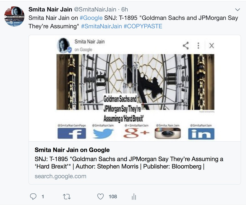 """SNJ: T-1895 """"Goldman Sachs and JPMorgan Say They're Assuming a 'Hard Brexit'"""" 