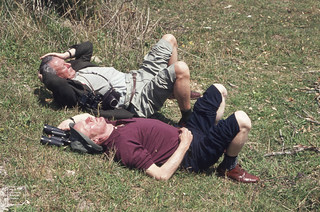 The 2 Dicks at the ready with binoculars. Blair, Slater. Olen Valley. Andalusia. 1975