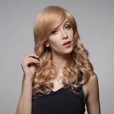Long Charming Curly Capless Virgin Remy Human Hair Wig Side Bang Mono Top 8 Colors 58cm (1063432) #Banggood
