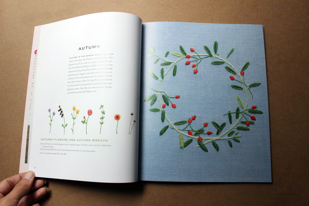 Autumn wreath in The Embroidered Garden by Kazuko Aoki, reviewed by floresita on Feeling Stitchy