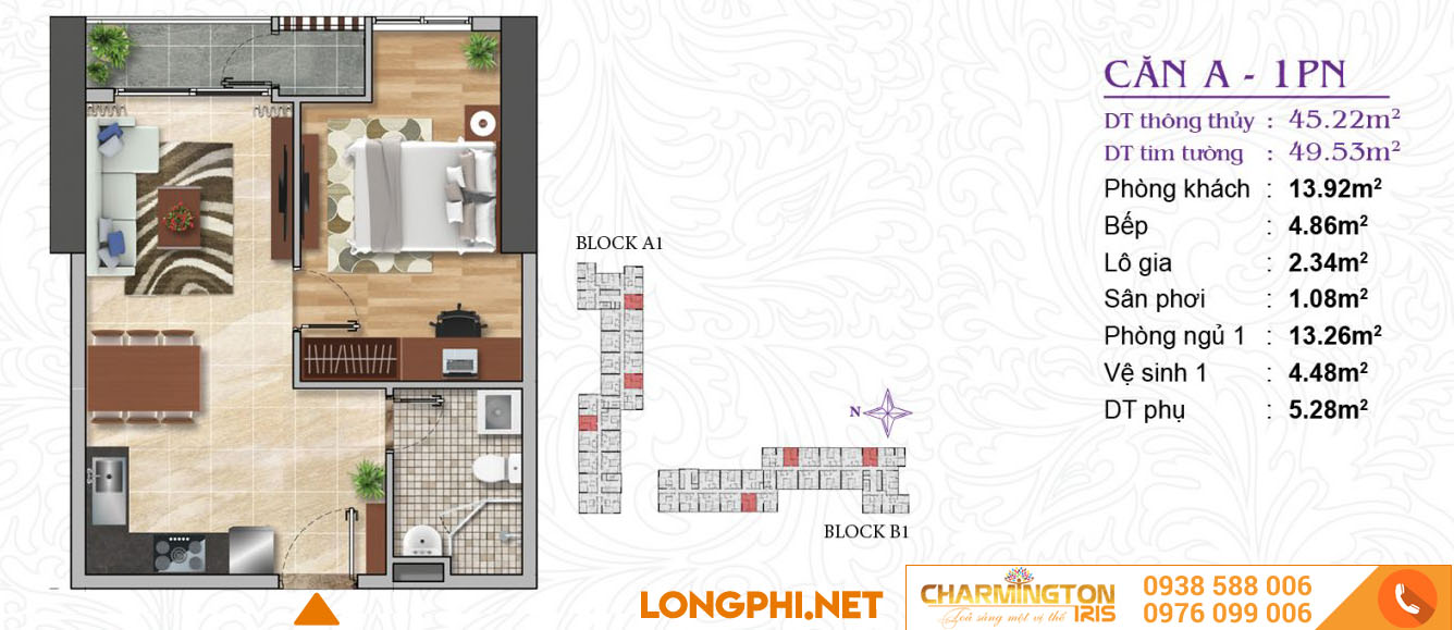 Căn hộ 01 phòng ngủ A dự án Charmington Iris Q4.