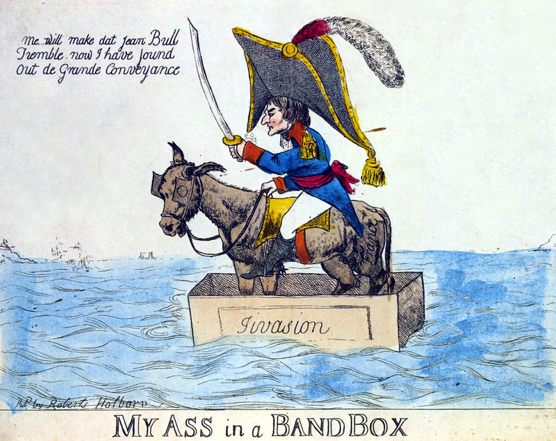 Caricature mocking the fragile landing rafts of the French by Robert Holborn