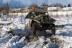 Off-road vehicle brand GAZ -69 overcomes the track