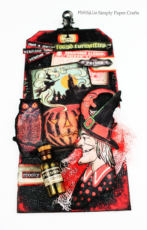 Meihsia Liu Simply Paper Crafts Mixed Media Halloween Dark Tag Tim Holtz Simon Says Stamp 1