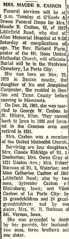 Casbon Maude B Carpenter obit 1972 Waterloo Daily Courier