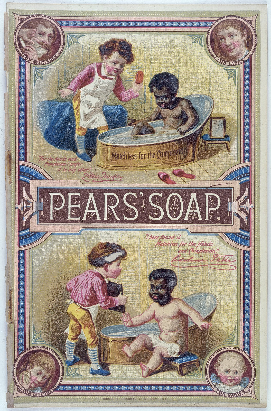 """Matchless for the Complexion"", Pears' Soap advertisement. Photo credit: Wikimedia Commons [Licensed under CC-BY-4.0]"