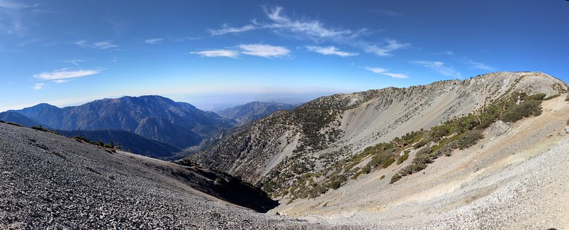 Panorama with Cucamonga, Ontario, the Baldy Bowl, and Mount San Antonio from the Devils Backbone Trail
