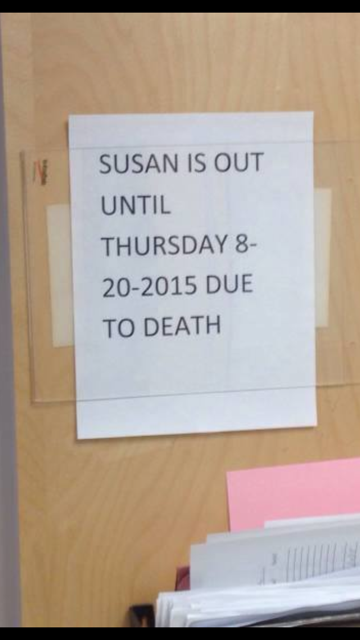 Susan is out