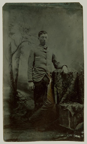 Tintype young man and chair