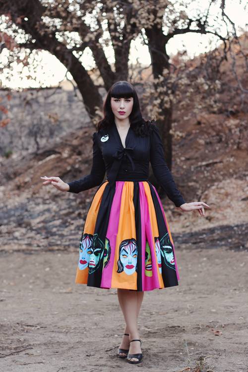 Heart of Haute Elsa Blouse in Black Vixen by Micheline Pitt Ben Cooper Striped Monster Mask Print Vixen Swing Skirt
