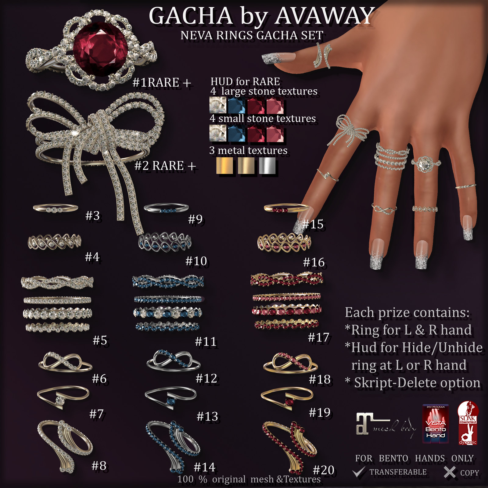 *AvaWay* NEVA RINGS GACHA SET (for Maitreya, Vista & Slink bento hands)