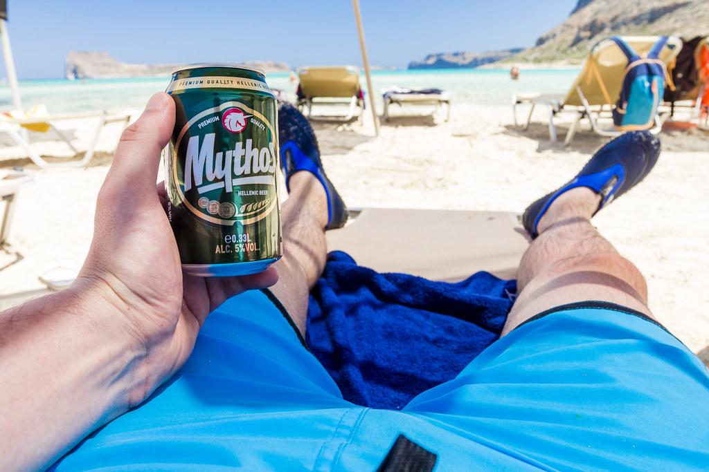 Mythos Beer Drinking on Balos Beach  - Crete, Greece