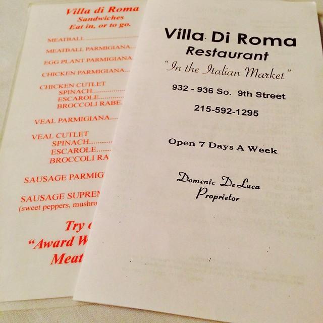 Villa di Roma Italian Restaurant Philadelphia PA Retro Roadmap