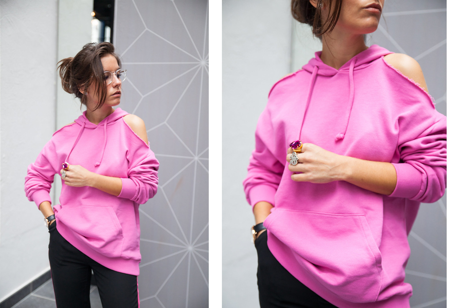 DESCUENTO NAKD SUDADERA ROSA THEGUESTGIRL DULCEIDA SINCERELYJULES COLLAGE VINTAGE INFLUENCER BARCELONA