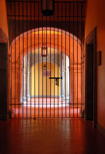 Orange corridor with a gate in Mexico City