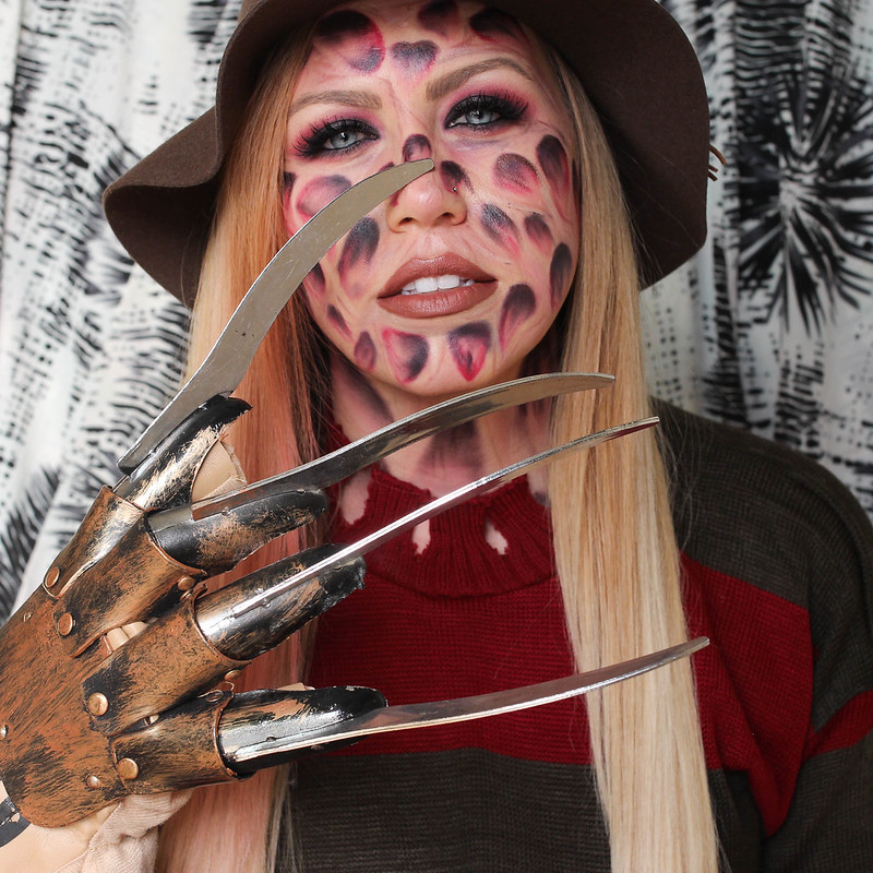 Scary Freddy Krueger Halloween Costume Girl Woman Makeup Tutorial
