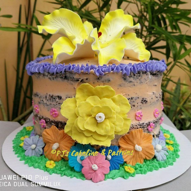 Semi-Naked Rustic Hawaiian Themed Cake by JenJen Dallo of PJ's Cakeline and Pastries