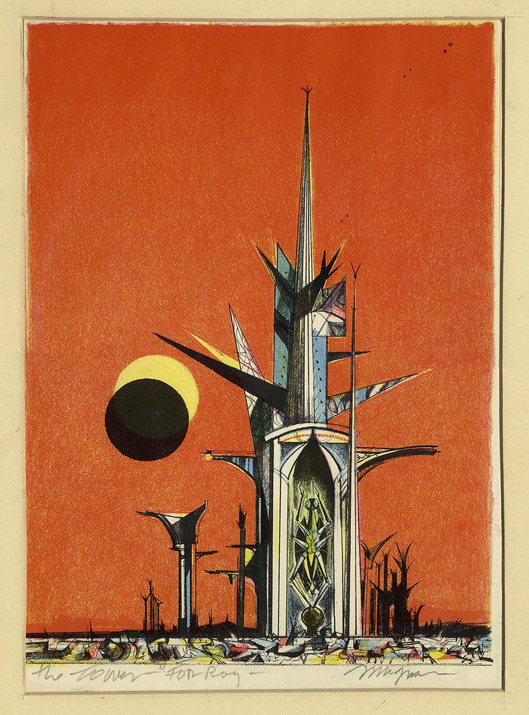"Joseph Mugnaini - The Tower, designed for  the ""Ylla"" chapter of the 1974 edition of  ""The Martian Chronicles"""