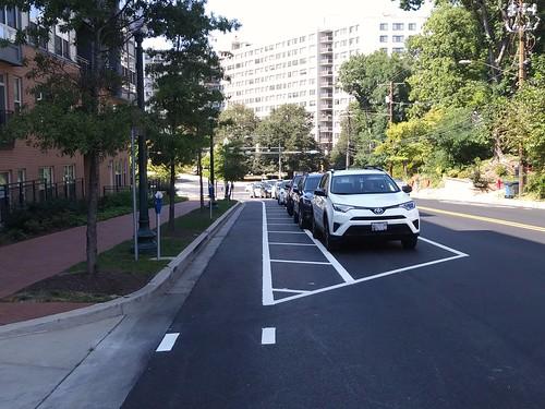new cycletrack on Cedar Street, Silver Spring, Maryland