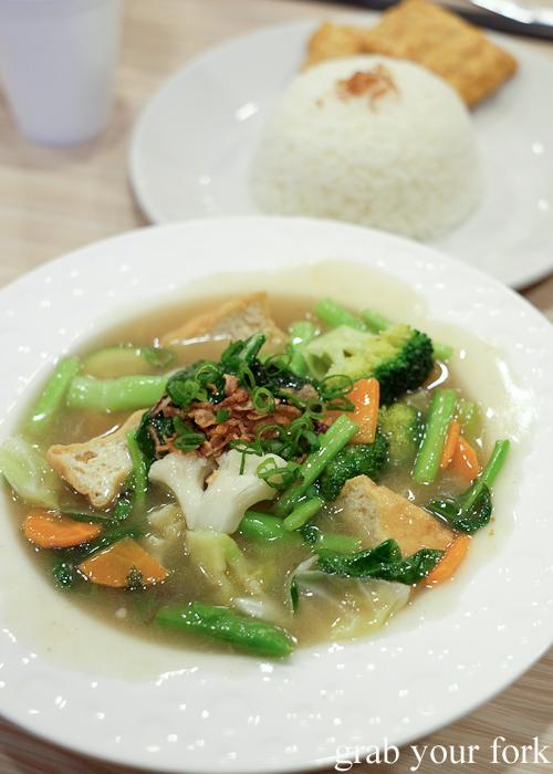 Cap jai stir fried vegetables with tofu and tempeh at Lestari Indonesian restaurant in Ultimo
