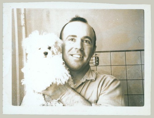Polaroid man and dog