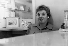 Lady behind a counter