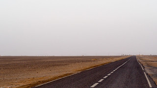 Endless road to the desert