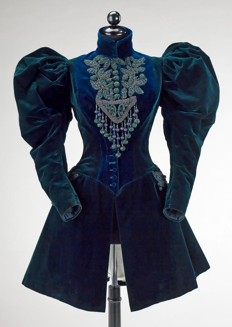 1895 Afternoon jacket. French. Silk, jet, beads