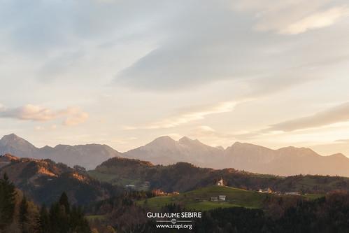 Sunrise over the Slovenian countryside