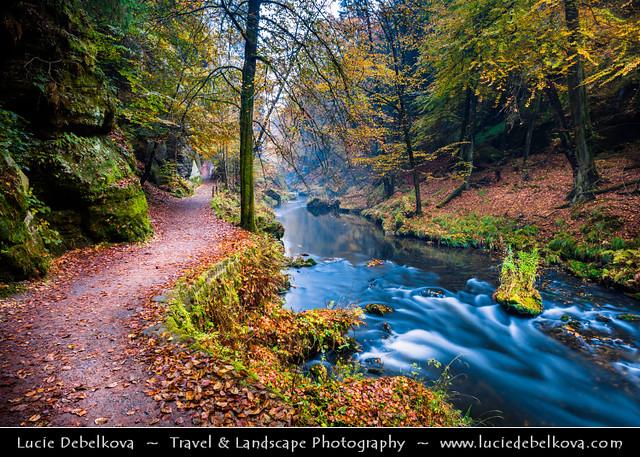 Czech Republic - Bohemian Switzerland National Park - České Švýcarsko - Kamenice Gorge at Autumn
