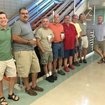 Saturday Sep 23 2017 1977 morning classmates touring good old AHS for 40th reunion reinacting sitting on the rail at AHS in the main lobby. L to R: Bob Wilson, David Litchfield, ?, David Pope, Kevin Michael Snyder, ?, Dave Sherman, ?, and Brian Buck