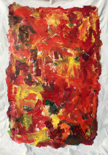 Composition with Orange 2017 72x48 acrylic on canvas