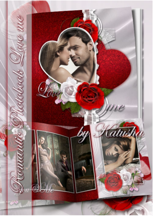 Download romantic photobook for Photoshop – love me