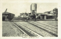 Africa Railways - Chemin de fer Franco-éthiopien - La Gare du C. F. E. (French Somaliland) - CFE 2-8-0 steam locomotive Nr. 24 (SLM 1496 / 1903)
