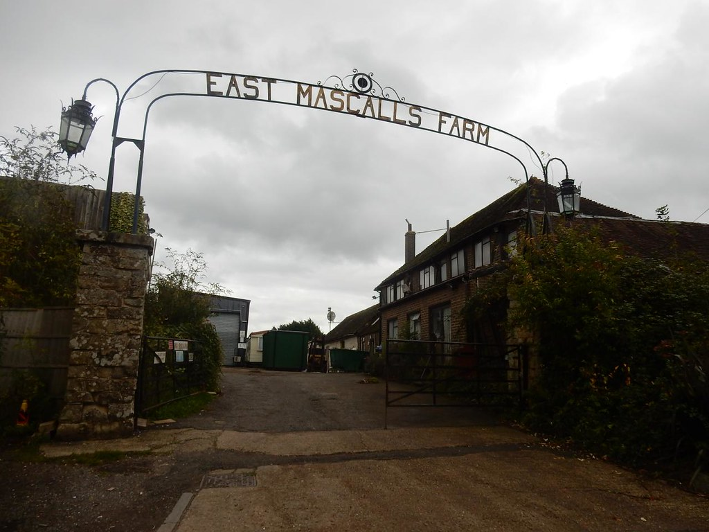 "East Mascalls Farm Unfortunate resemblance to ""Arbeit Macht Frei"" sign. Haywards Heath Circular"
