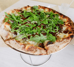Bacon Pizza - caramelized onion, potato, gruyère, arugula