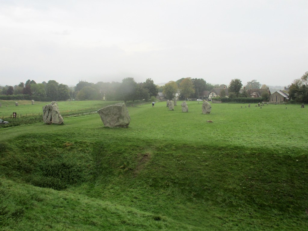 Avebury Village from the earth bank