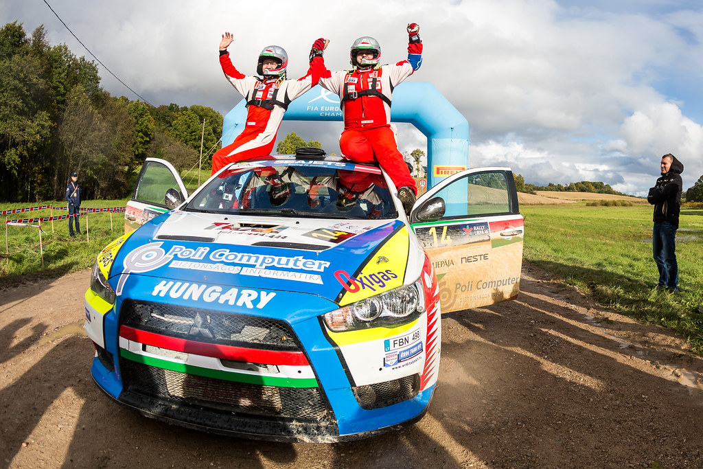 Erdi jun. Tibor and Papp Gyorgy, Mitsubishi Lancer Evo X ambiance portrait during the 2017 European Rally Championship ERC Liepaja rally,  from october 6 to 8, at Liepaja, Lettonie - Photo Thomas Fenetre / DPPI